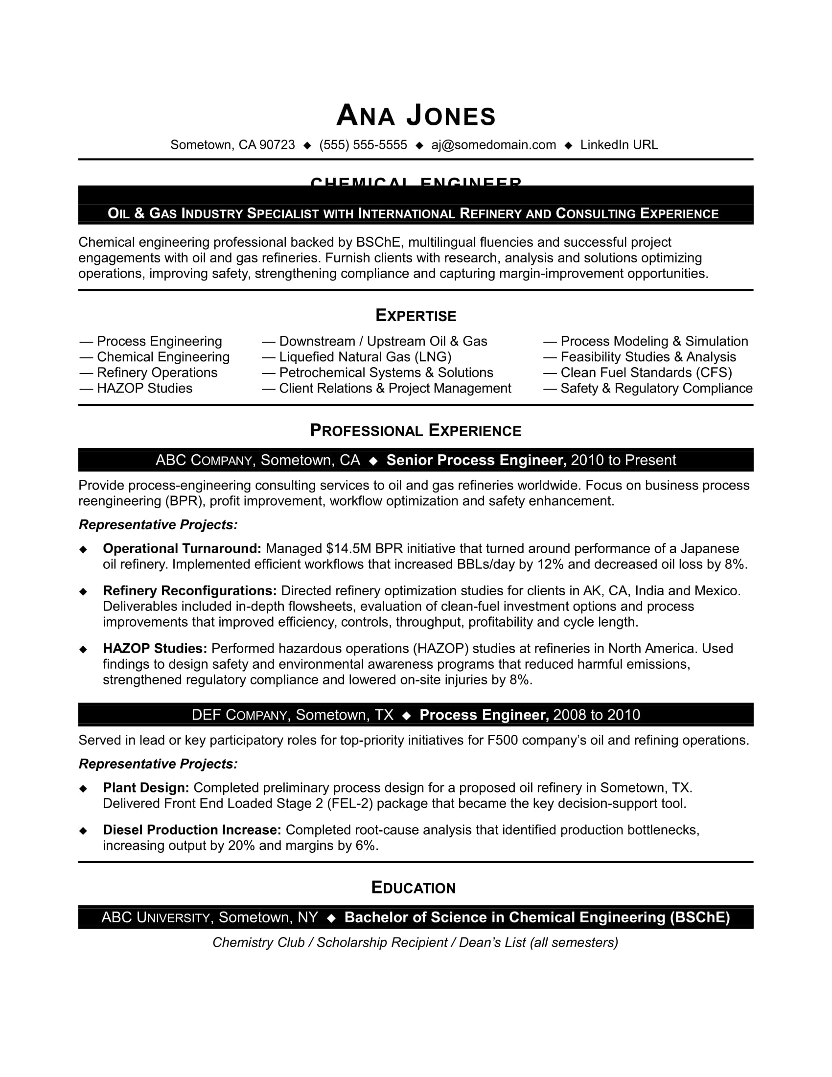 sample resume for entry level chemical engineer monster engineering typeface technical Resume Chemical Engineering Resume