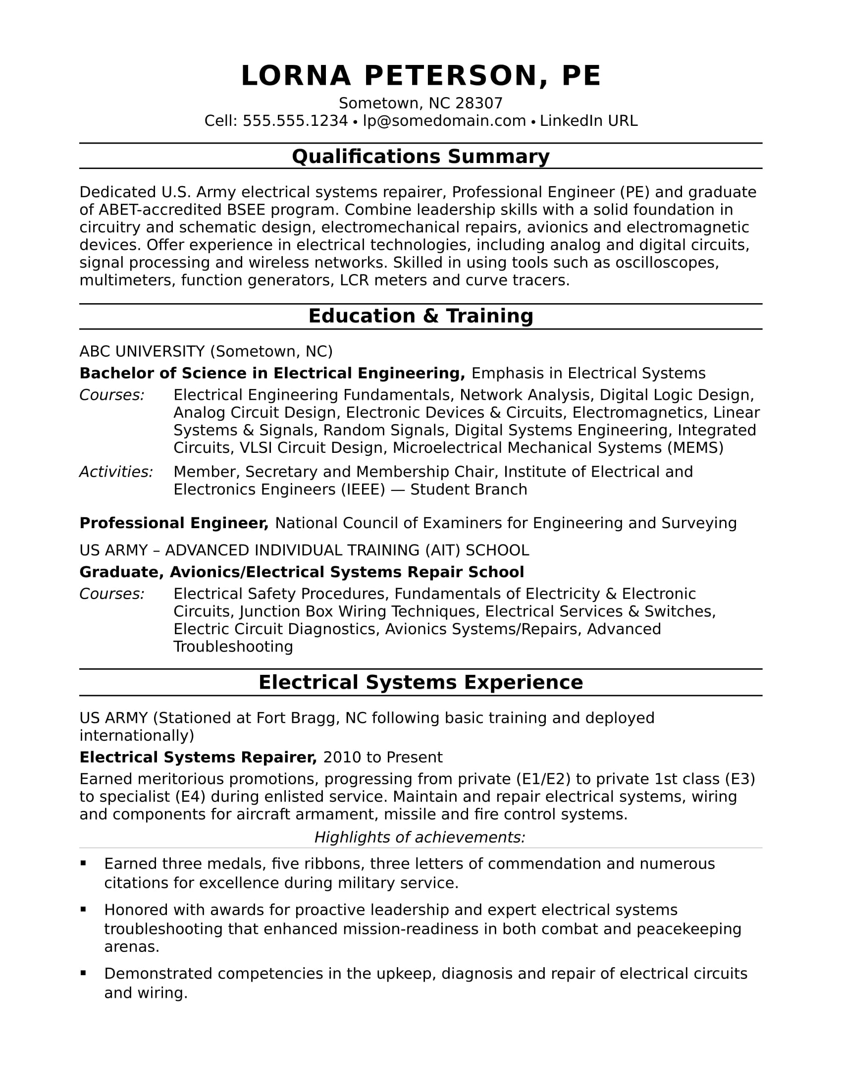 sample resume for midlevel electrical engineer monster title coach scam procter and Resume Resume Title For Electrical Engineer