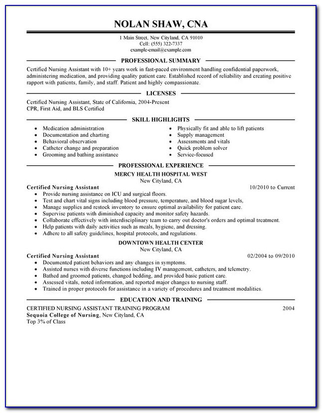 sample resume for nursing assistant with no experience vincegray2014 certified template Resume Certified Nursing Assistant Resume