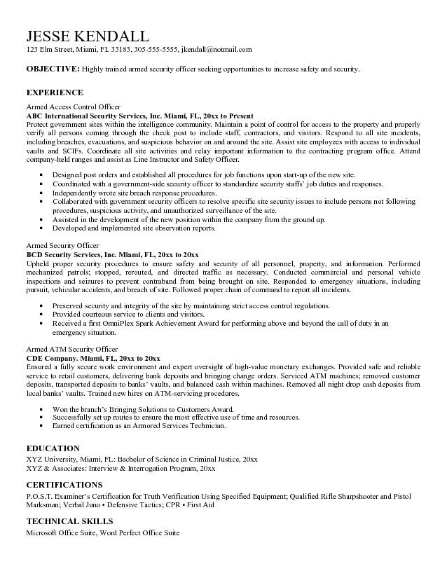 sample resume for security officer guards companies personal microsoft word jk armed Resume Personal Security Resume