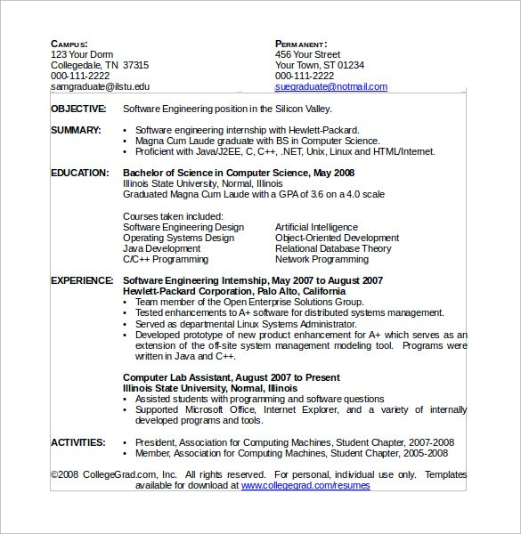 sample resume for tech it fresher btech cse student computer science template summary of Resume Resume For Btech Cse Student Fresher
