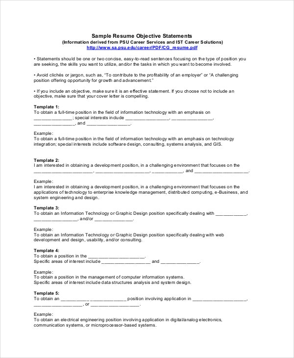 sample resume objectives pdf free premium templates customer service objective statement Resume Customer Service Objective Statement For Resume Example