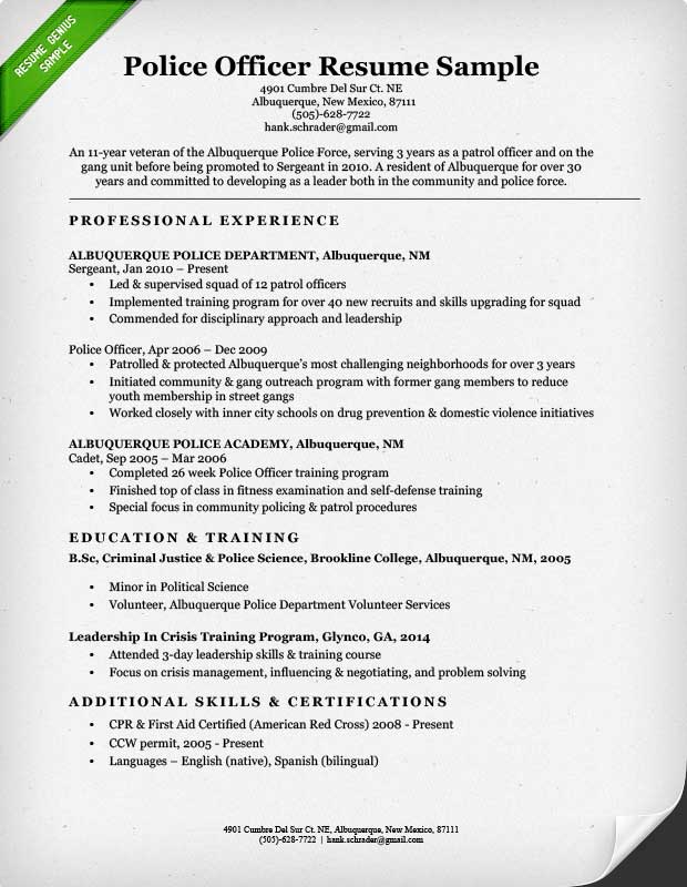 sample resume police lieutenant objective samples officer arnp examples ats friendly Resume Police Resume Objective Samples