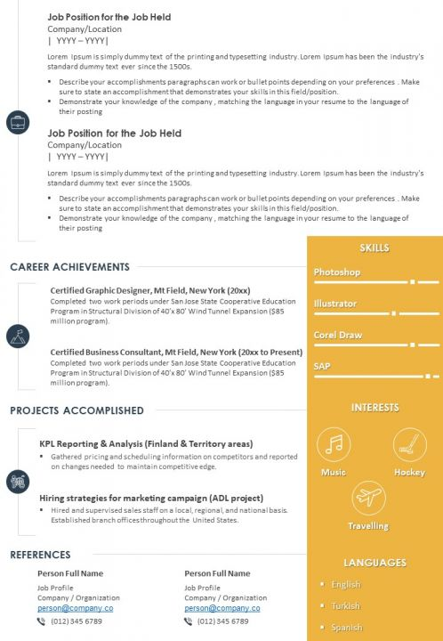 sample resume template with profile summary for professionals powerpoint slides diagrams Resume Skills Usa Resume Template