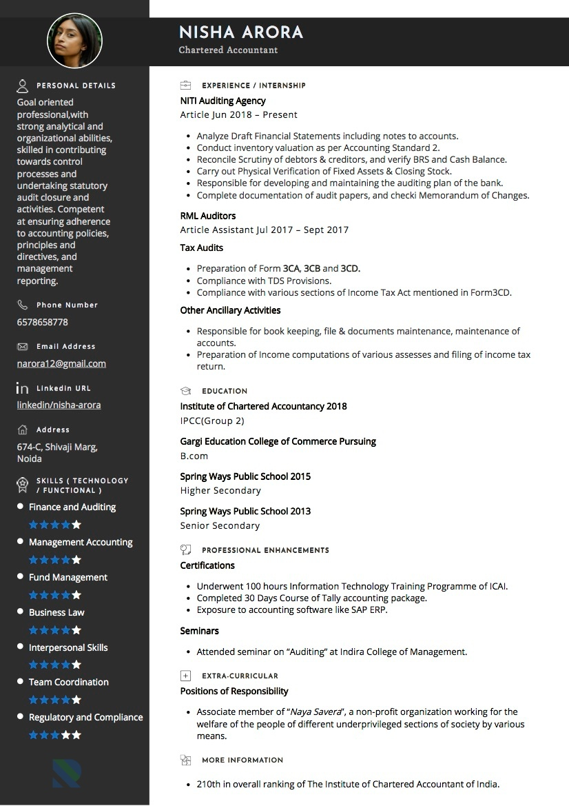sample resumes and cvs by industry resumod resume of experienced chartered accountant Resume Resume Of Experienced Chartered Accountant