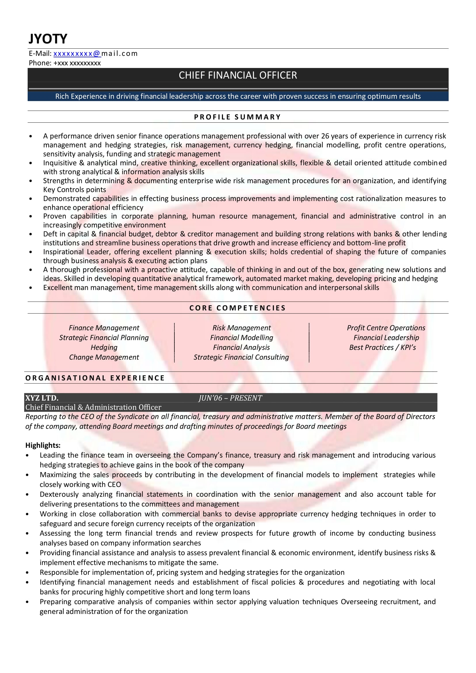 sample resumes resume format templates of experienced chartered accountant web developer Resume Resume Of Experienced Chartered Accountant