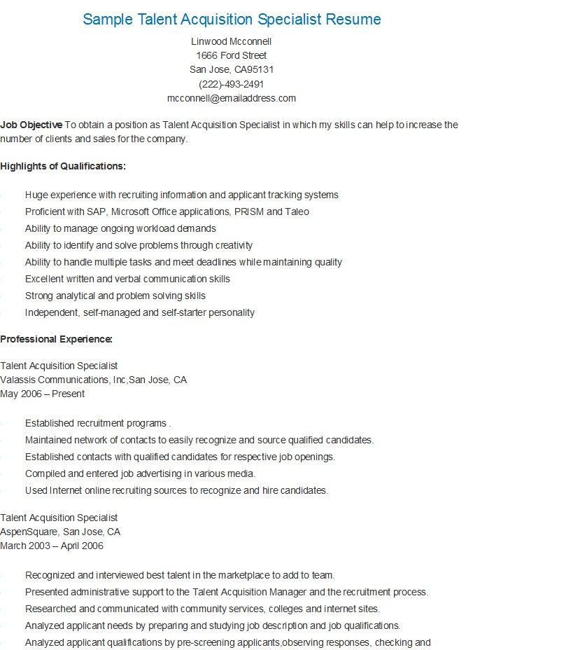sample talent acquisition specialist resume performance evaluation examples auditor Resume Talent Acquisition Resume Examples