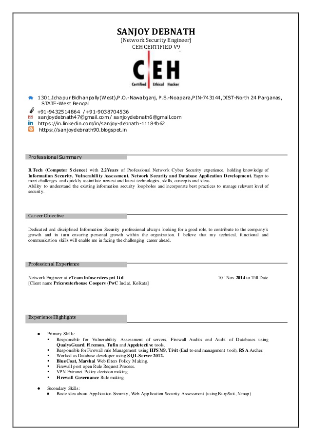sanjoy debnath resume ceh certification sanjoydebnathresume education examples simple for Resume Ceh Certification Resume