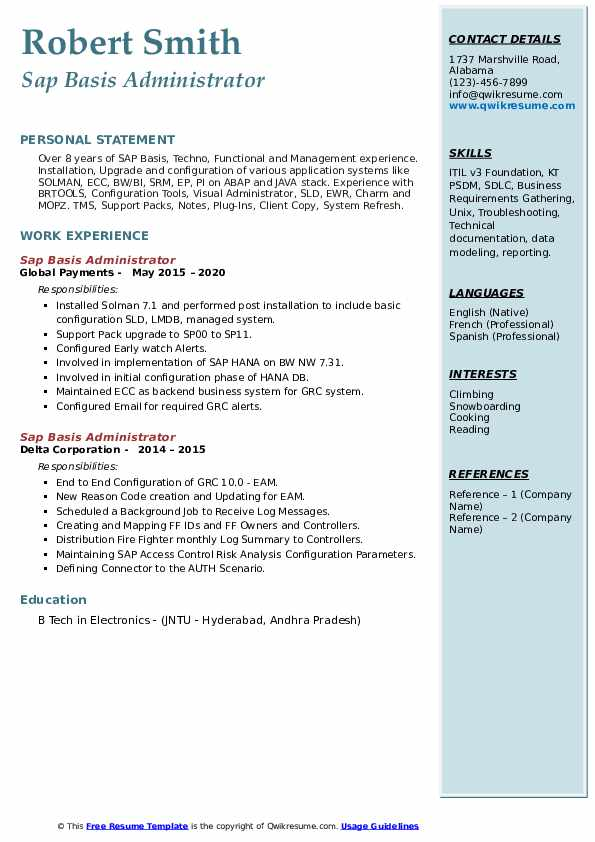 sap basis administrator resume samples qwikresume years experience pdf best format for Resume Sap Basis Resume 8 Years Experience