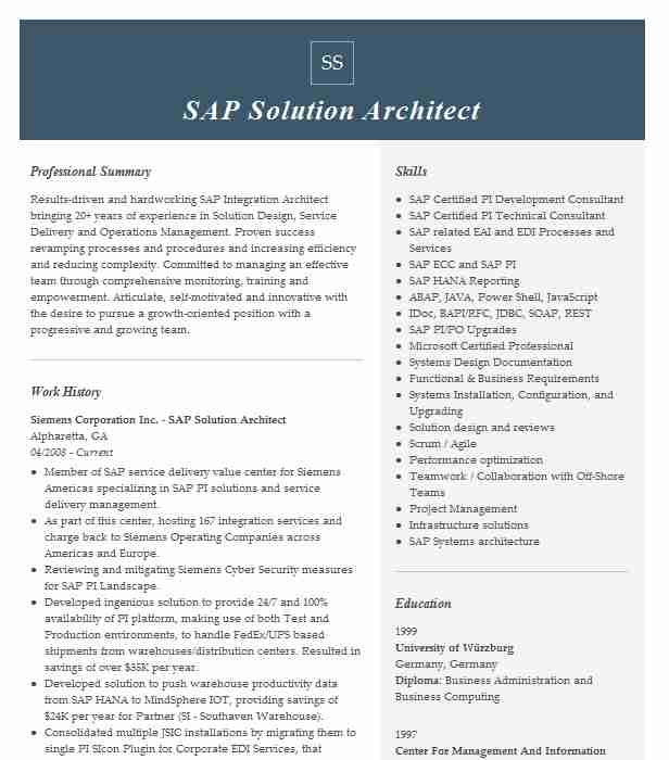 sap solution architect resume example implementation at glccd frisco sftp upload Resume Solution Architect Resume