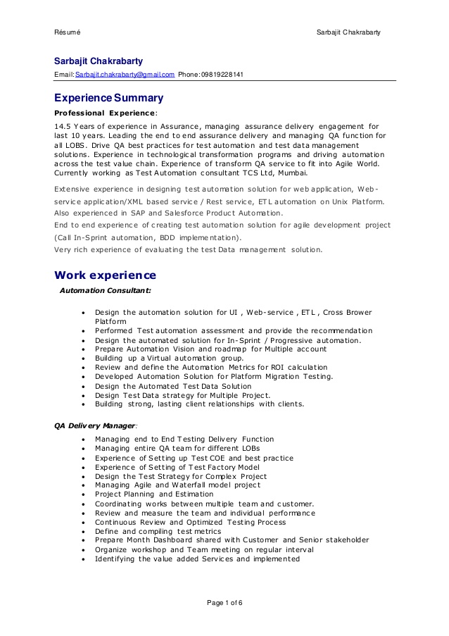 sarbajit resume delivery manager qa test automation consluting sap service job interview Resume Sap Service Delivery Manager Resume