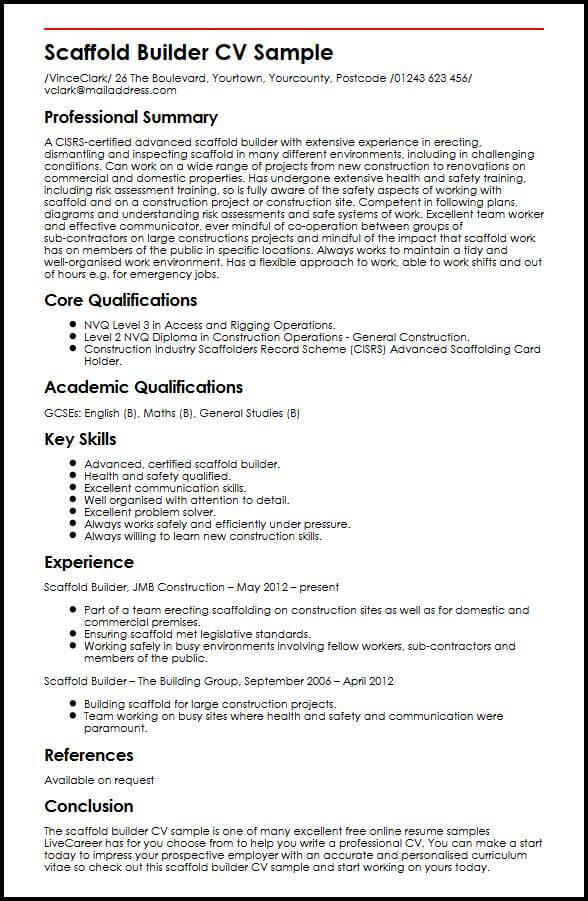 scaffold builder cv example myperfectcv sample resume for building contractor billing Resume Sample Resume For Building Contractor