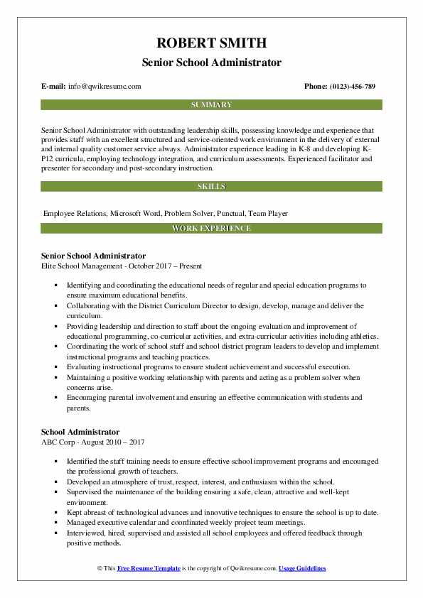 school administrator resume samples qwikresume examples education administration pdf Resume Resume Examples Education Administration
