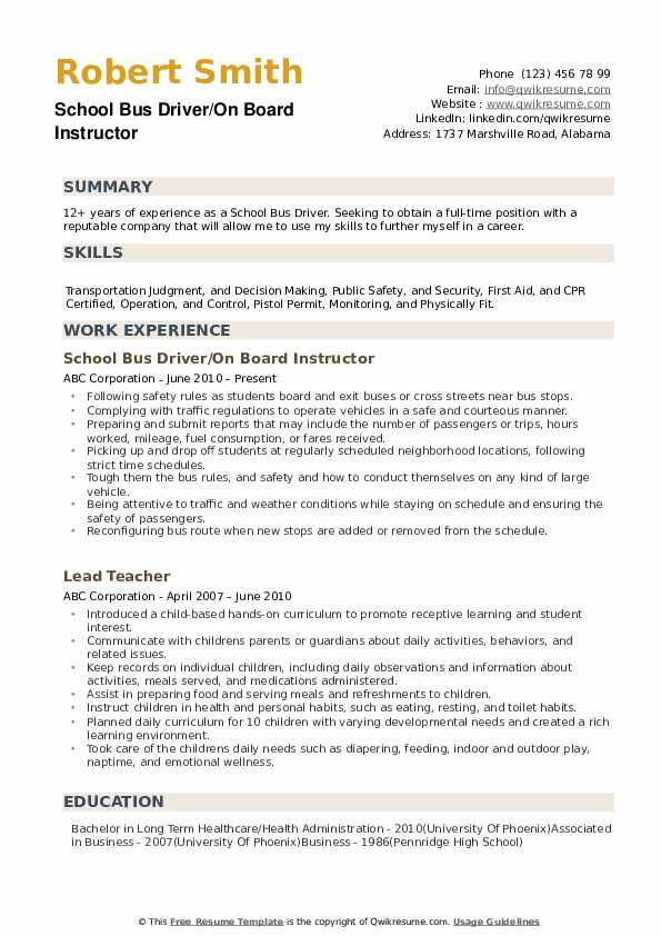 school bus driver resume samples qwikresume for position pdf proper reference format Resume Resume For Bus Driver Position