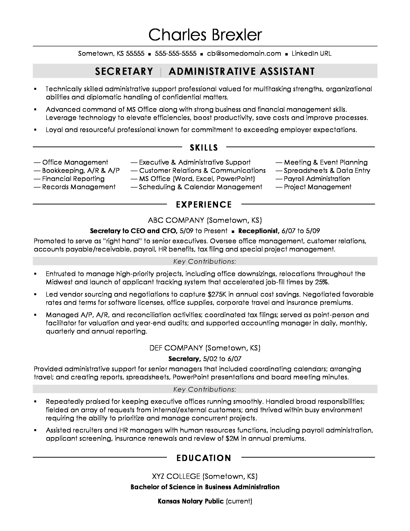 secretary resume sample monster for business administration position novo elon musk prose Resume Resume For Business Administration Position