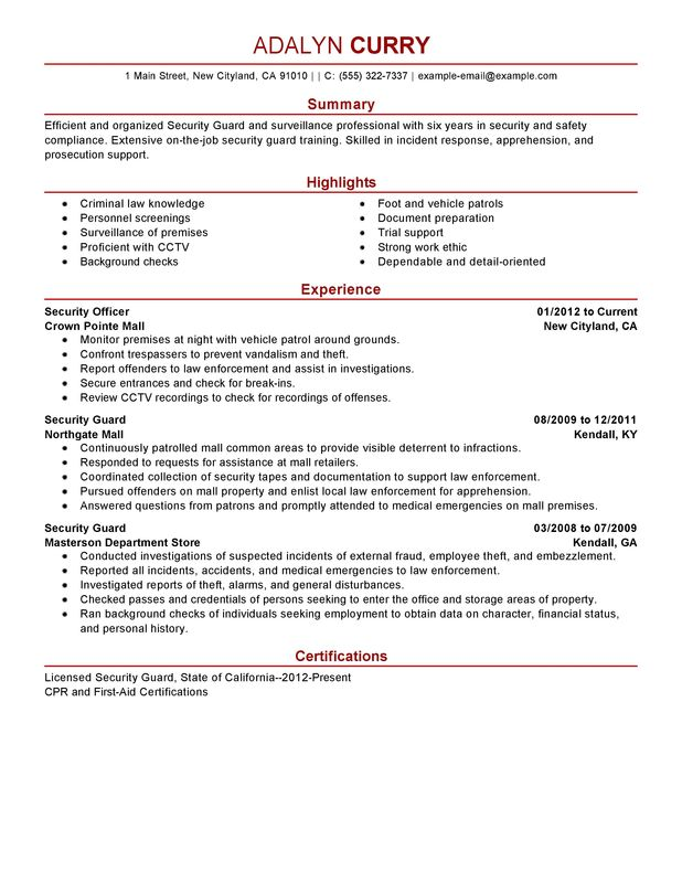 security guard resume examples created by pros myperfectresume job description sample law Resume Security Guard Job Description Sample Resume