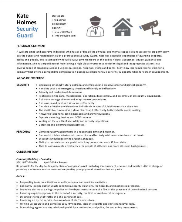 security guard resume free sample example format premium templates personal hospital Resume Personal Security Resume