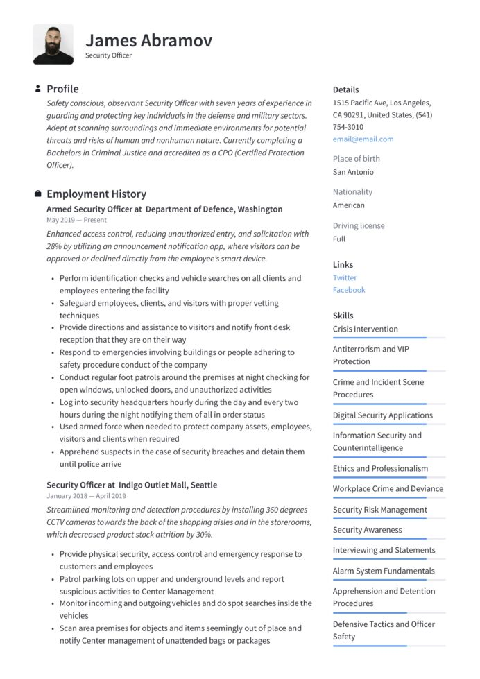 security officer resume writing guide examples executive sample cash management samples Resume Security Executive Resume Sample
