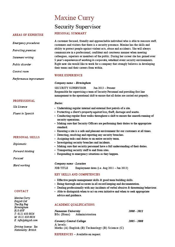 security supervisor resume sample example patrol job description cctv checking visitors Resume Security Guard Job Description Sample Resume