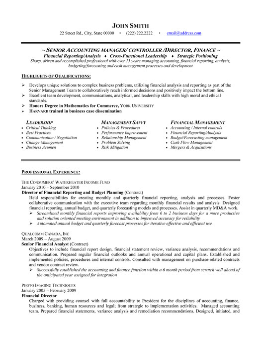 senior accounting manager resume sample template accountant executive director mortgage Resume Senior Accountant Accounting Manager Resume