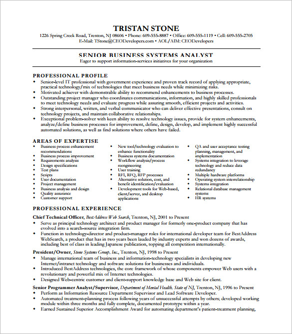 senior business analyst resume system templates speaker assistant purchase manager sample Resume Senior Business Analyst Resume