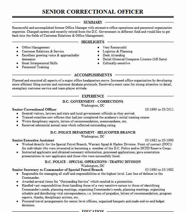 senior correctional officer resume example federal of prisons brooklyn new timeline Resume Correctional Officer Resume