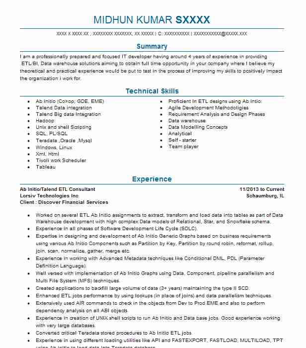 senior etl consultant resume example the northern trust chicago talend developer personal Resume Talend Developer Resume