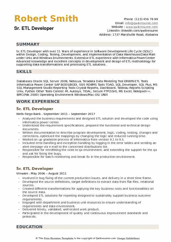senior etl developer resume samples qwikresume talend pdf job description objective on Resume Talend Developer Resume