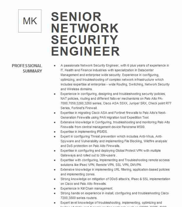 senior network security engineer resume example bellevue cisco ise bullet examples sample Resume Cisco Ise Engineer Resume