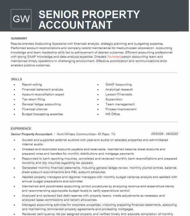 senior property accountant resume example parmenter hollywood sample different objectives Resume Property Accountant Resume Sample