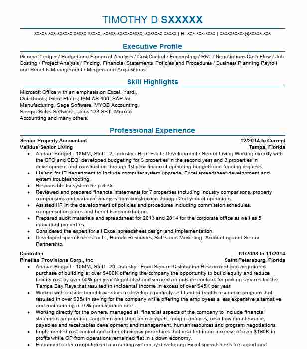 senior property accountant resume example parmenter hollywood sample profile section of Resume Property Accountant Resume Sample