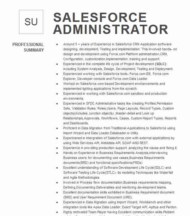 senior salesforce administrator resume example the warranty group chicago sample for food Resume Sample Resume For Salesforce Administrator