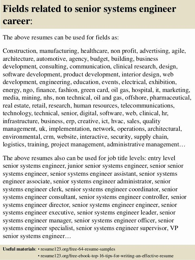 senior software engineer resume examples new top systems samples in project manager cover Resume Senior Systems Engineer Resume