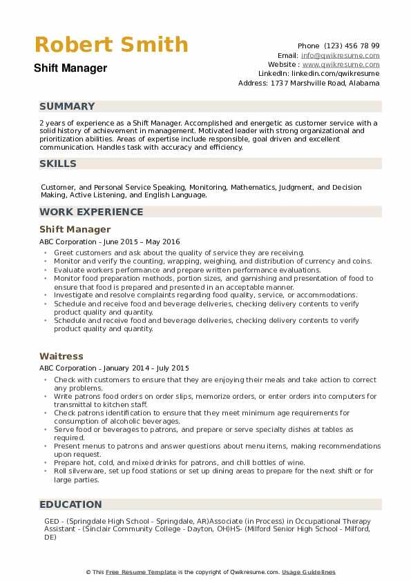 shift manager resume samples qwikresume description for pdf business specialist technical Resume Shift Manager Description For Resume
