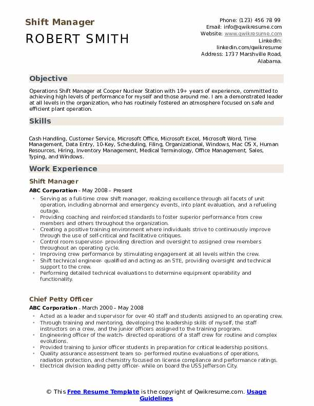 shift manager resume samples qwikresume description for pdf objective statement examples Resume Shift Manager Description For Resume