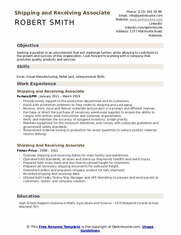shipping and receiving associate resume samples qwikresume objective examples pdf detail Resume Shipping And Receiving Resume Objective Examples