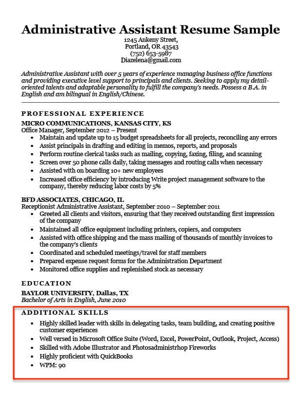 skills for resume examples to them in good qualifications job administrative assistant Resume Good Qualifications For A Job Resume