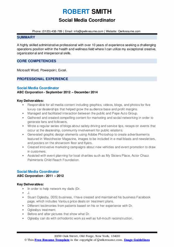 social media coordinator resume samples qwikresume examples pdf training assistant cover Resume Social Media Resume Examples