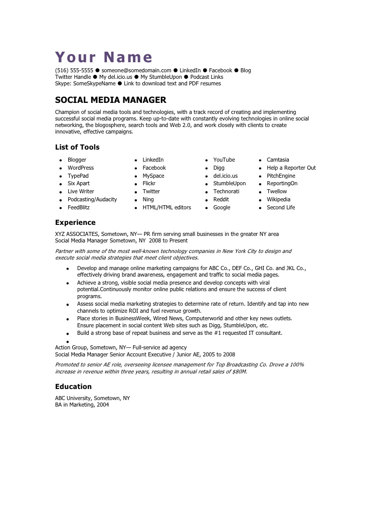 social media manager cv template resume sample access control call center examples cdl Resume Social Media Resume Sample