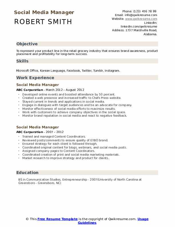 social media manager resume samples qwikresume sample pdf entertainment format product Resume Social Media Resume Sample