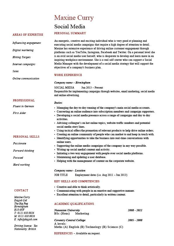 social media resume coordinator specialist example sample pr seo address employer pic Resume Social Media Resume Sample