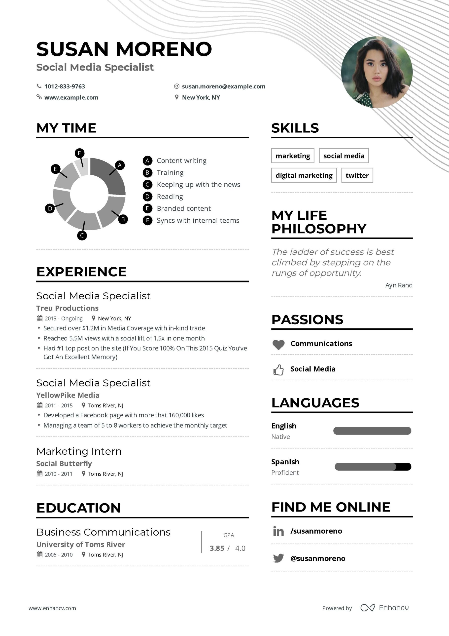 social media specialist resume example and guide for examples marketing job samples Resume Resume Samples For Media