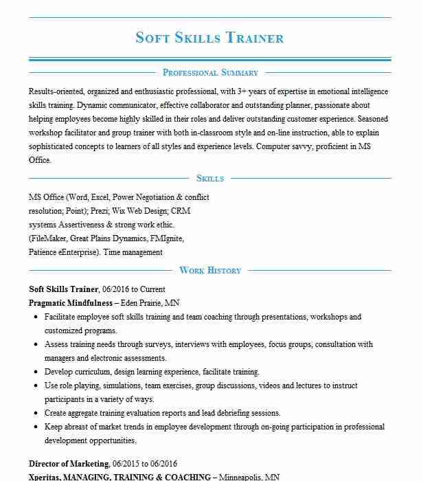 soft skills trainer resume example resumes livecareer best for email content sample find Resume Best Soft Skills For Resume
