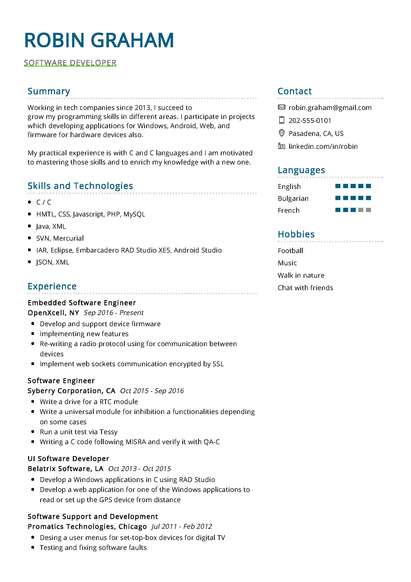 software developer resume example writing tips resumekraft years of experience on Resume Resume Writing Tips 2020