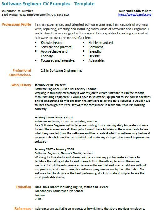 software engineer cv example examples resume free samples profile financial planning and Resume Software Engineer Profile Resume