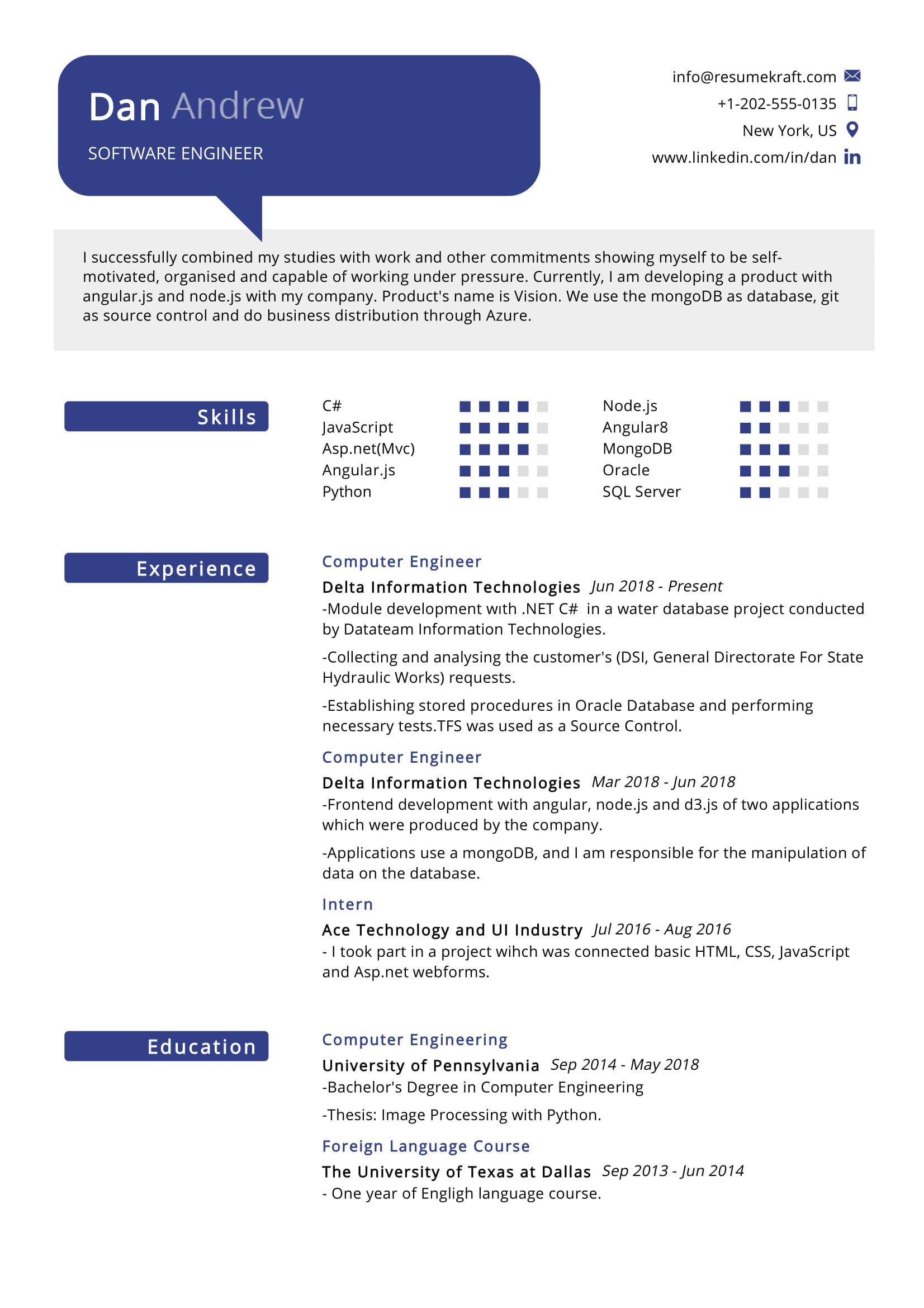 software engineer resume sample resumekraft fancy put linkedin on tomorrow skill set for Resume Resume Software Download