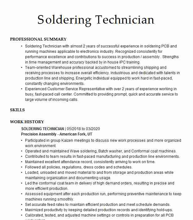 soldering and assembly resume example plumtronix fayetteville technician when did Resume Soldering Technician Resume