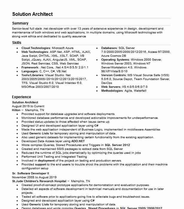 solution architect examples resumes livecareer resume best format for computer engineers Resume Solution Architect Resume