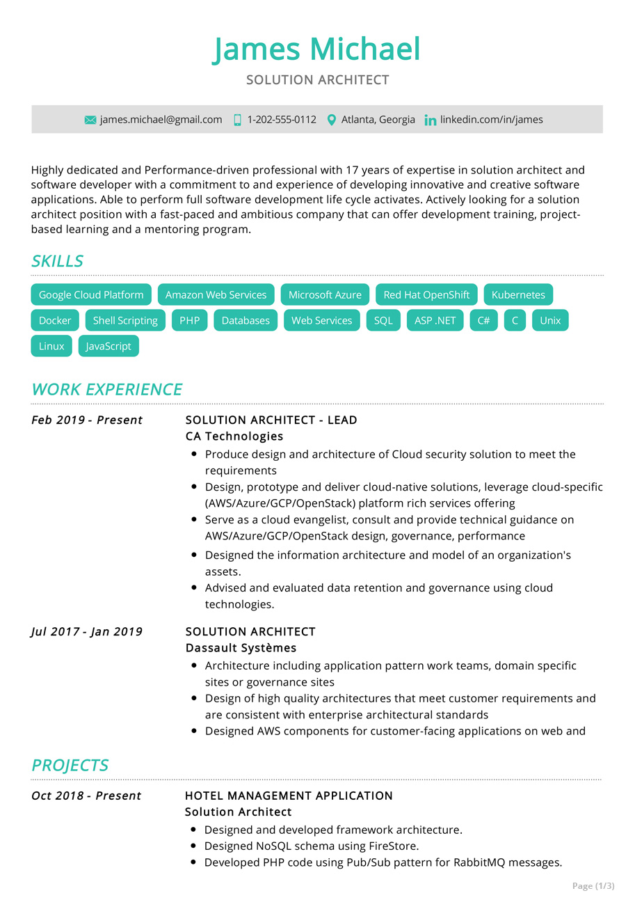 solution architect resume example sample resumekraft high school graduate references Resume Solution Architect Resume