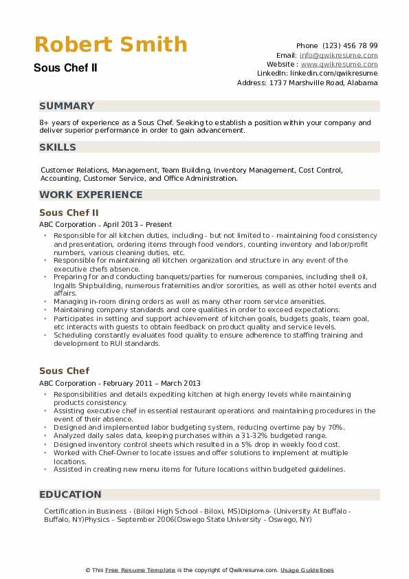 sous chef resume samples qwikresume free pdf computer system administrator sound editor Resume Free Sous Chef Resume Samples